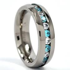 blue titanium wedding band 6mm eternity ring titanium wedding band w blue topaz