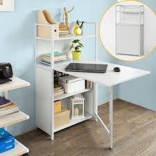 Laptop Desk With Hutch by Sobuy Folding Laptop Desk Table With 4 Tiers Bookcase Storage
