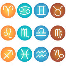 vector set of zodiac sign in in the color elements fire earth