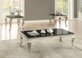 black u0026 chrome coffee table set 705018 savvy discount furniture
