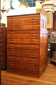 20 drawer tiger oak map cabinet or flat file with original brass