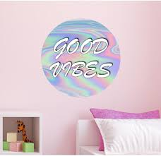 good vibes holographic wall decal vinyl sticker for kids wall art good vibes holographic wall decal vinyl sticker for kids wall art girls dorm room decor