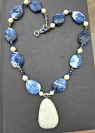 stone necklace designs images Blue and white stone necklace stone and silver chunky necklace JPG