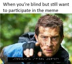 Blind Meme - when you re blind but still want to participate in the meme funny