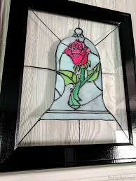faux stained glass beauty beast rose diy tutorial