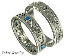 wedding bands sets his and hers princess cut blue diamond his and ring set vidar jewelry