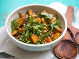 arugula sweet potato and walnut salad with dashi vinaigrette