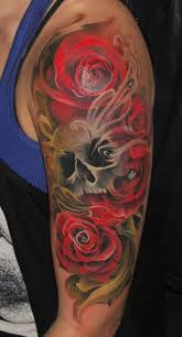black roses and skull full sleeve design rose and skull sleeve