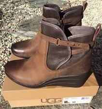 ugg australia womens emalie brown stout leather ankle boot 7 ebay