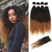 curly hair extensions mink hair ombre curly hair with closure grade 8a
