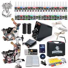 best tattoo kit 2 machine guns inks power supply grip tip needles