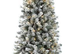 7 5ft pre lit snowy cone pine slim artificial christmas tree