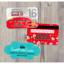 bling red sweet 16 invitations credit card invites