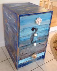 up cycled wooden file cabinet beach scenes and decoupage drawers