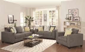 Microfiber Living Room Set Kelvington Sofa In Grey Fabric 501421 By Coaster W Options