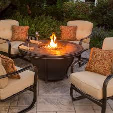 Agio Outdoor Patio Furniture by Agio Tempe Gas Fire Pit With Bronze Chat Base