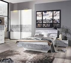 Schlafzimmer Komplett Mit Bett 140x200 3 Tlg Schlafzimmer In Alpinweiß Abs Vintage Grau Nachttisch B