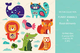 big collection animals and flowers illustrations creative market