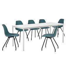 Esszimmertisch Sale En Casa Esstisch Mit 6 Stühlen Weiß Türkis 180x80cm Küchentisch