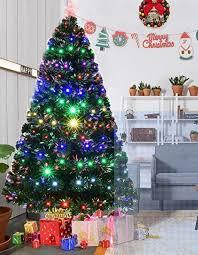christmas tree prelit goplus 7ft artificial christmas tree pre lit optical fiber tree 8