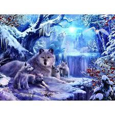2017 hwb 030 5d diy diamond painting wolf jungle old castle snow