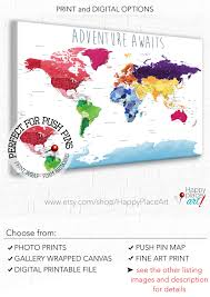 Detailed World Map Educational World Map Print Detailed World Map Push Pin Foam