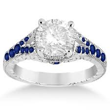 sapphire rings vintage images Antique art deco blue sapphire engagement ring 14k white gold 0 33ct jpg