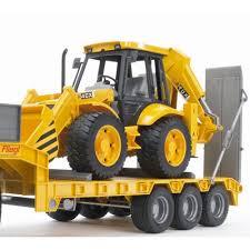 bruder man tga low load truck with jcb backhoe loader jadrem