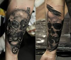 gear parts with angry skull on forearm golfian com