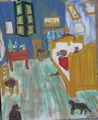 van gogh bedroom painting cats in van gogh s bedroom original by nancy denommee from famous