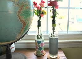 Diy Wine Bottle Vases Diy Recycled Wine Bottle Scrapbook Paper Vases Scoutie