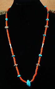 beaded coral necklace images Item 548m vintage santo domingo turquoise silver bead coral JPG