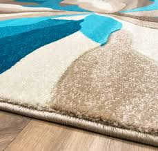 Turquoise Brown Rug Modern Soft Touch Quality Floor Rug Black Red White Grey Teal