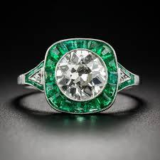 Art Deco Style 1 81 Carat Diamond And Emerald Art Deco Style Engagement Ring