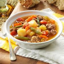 contest winning hearty hamburger soup recipe taste of home