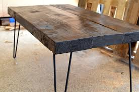 industrial hairpin leg desk industrial rustic coffee table made from salvaged barnwood with