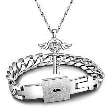 lock key pendant necklace images Hot sale couples jewelry sets silver color bracelet cubic zirconia jpg