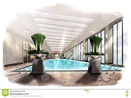 sketch perspective interior swimming pool into a watercolor on