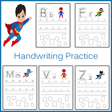 handwriting practice superhero handwriting practice sheets