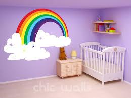 Rainbow Bedroom Decor Rainbow U0026 Clouds Wall Art Decor Dcal Sticker By Chicwallsdesign