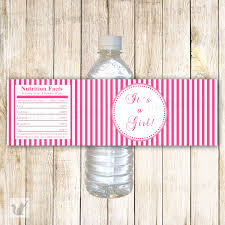 instant download pink stripes baby shower party water bottle