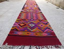 18 Foot Runner Rug 14 Foot Extra Long Handmade Pink Kilim Rug Runner Colorful Wool