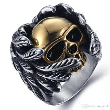 cool mens rings hot selling stainless steel jewelry cool feather skull anti rust