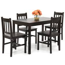 5 Chair Dining Set Home 5 Pine Wood Dining Set Table W 4 Chairs Brown Best