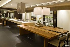 elegant luxury photo kitchen design with pendant lamp above wooden