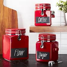 Red Glass Kitchen Canisters by Food Storage Containers Glass And Plastic Crate And Barrel