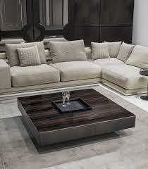 contemporary coffee table leather walnut wood veneer