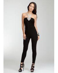 bebe jumpsuit lyst bebe ruched sleeveless jumpsuit in black