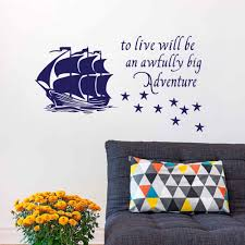 popular peter pan quote wall sticker buy cheap peter pan quote peter pan wall decal quote to live will be an awfully big adventure vinyl sticker pirate