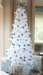 white tree blue ornaments home design and decorating